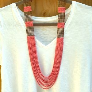 "18"" coral and gold beaded statement necklace"